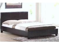 dOUBLE LEATHER BED AND HYPO ALLERGY MATTRESS