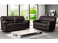 New Brown 3 Seater + 2 Seater faux leather sofa