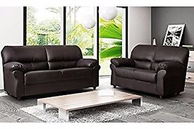 New Brown 3 Seater faux leather sofa (free local delivery