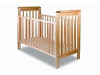 Troll bedside cot / co-sleeper option with Natural (Little Green Sheep) Mattress and protector