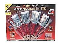 New Am-Tech 10 Piece Paint Brush Set