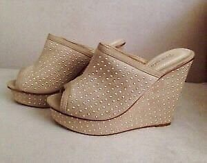 Gold-Studded Beigy Wedge Sandals -Size 9 -New! - $35
