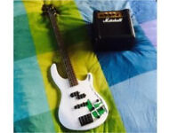 Dean bass guitar and practice amp