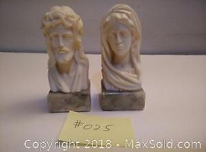 025. A pair busts. Genuine Alabaster hand carved Italy