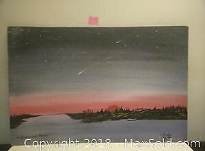 107. Canadian oil painting on board L. RIVERS INDIAN LAND REZ