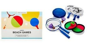 NEW in Box Summer Beach 4 Games Set Badminton + Tenis catch + Paddleball + Frisbee