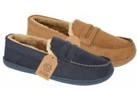 Mens Jo & Joe Faux Suede Fur Lined Moccasin Slippers Shoes Brand New and Boxed