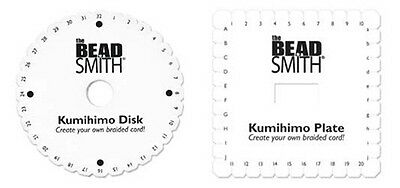 2 Kumihimo Braiding Plates Two Disc Lot One 6 Inch Round + One 5-1/2 Square