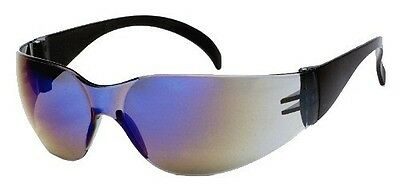 6 Pair 1700 Series Blue Mirror Lens Safety Glasses