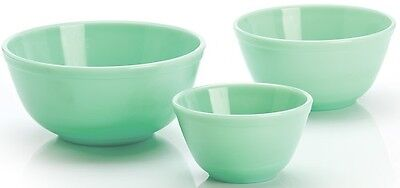 Set of 3 Stackable Jade Jadeite Green Glass Nesting Mixing Bowls - Mosser USA