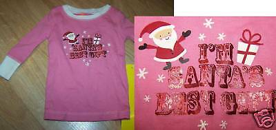 Size 3-6 Months Old Navy Pink L/S Pajama Shirt Top Santa's Best Gift New