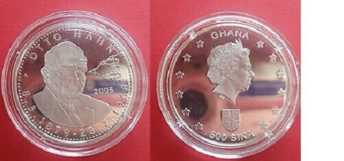 2005 Ghana Large Silver Proof 500 Sika- Otto Hahn- Chemist