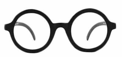 SCHOOL BOY BLACK ROUND GLASSES w /CLEAR LENS COSTUME ACCESSORY OWL HARRY POTTER