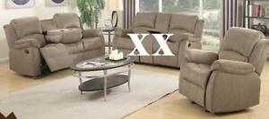 SAVE $1200 - 2pc Green Reclining Sofa and Chair Regular Retail $2199 Now $999