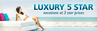 Luxury 5 star vacations at 3 star prices!