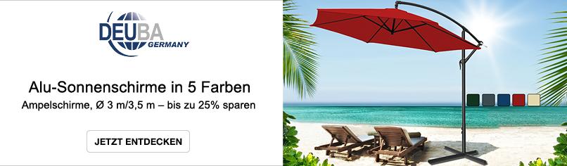 Deuba: Alu-Sonnenschirme in 5 Farben - bis zu 25% sparen