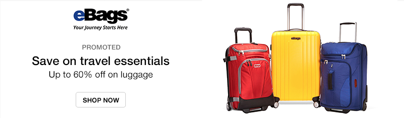 eBags: Save on travel essentials - Up to 60% off on luggage