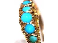 STUNNING MEN'S ART DECO STYLE 18CT GOLD FIVE GRADUATING TURQUOISE RING MADE IN ENG FULLY HALLMARKED