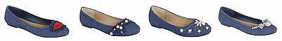 Wear Ballerina Flats ( Women's New Denim Casual wear Evening Ballet Ballerina Flats Flat Shoe Sz 6-10 )