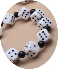 COLOURED DICE BEAD STRETCH BRACELET : CHOOSE COLOUR : 0122