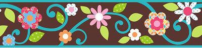 RoomMates Tapeten Borte Floral Scroll braun Blumen Blüten Kinderzimmer