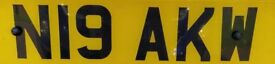 Private number plate on retention N19AKW