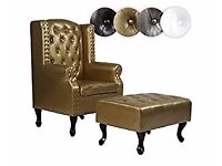 Elegant Chesterfield Vintage Design Gold Colour Armchair with Matching Footstool £50