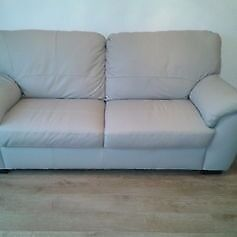 Milano Collection Grey Leather 3 seater