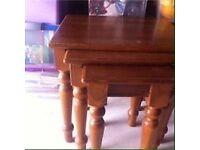 Oak nest of tables x 3