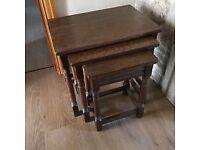 Antique Oak nest of tables