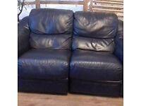 Italian Leather 2 x 2 seater Sofas and 1 Chair Navy Sofitalia