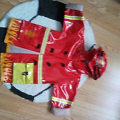 Kids fire &rescue hooded raincoat