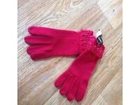 New Studded Red Women's Gloves, One Size