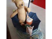 Pooh & Piglet Sailing In Umbrella Figure