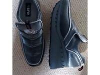 UK 6 New Vintage UFO Silver Wedge Slip Ons