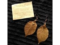 Large 24ct gold real leaf earrings.