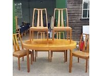 VINTAGE NATHAN TEAK EXTENDING DINING TABLE & SIX CHAIRS