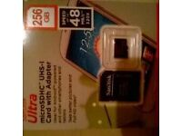 sandisk 256gb sdxc micro memory card and adapter
