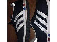 Adidas la trainers black white stripes good