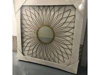 Gold Sunburst Round Metal Mirror Feature Sun Mirror New B&Q rrp £45