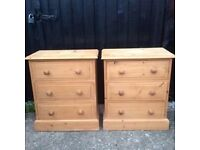 Solid Pine Matching pair of 3 drawer chests bedside tables