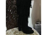 Black long boots size 4 Used only once . Excellent condition like new