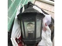 Black Half wall lantern outdoor outside light used