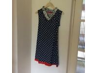 Navy blue dress with white spots, size 8