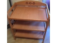 Wooden changing table with storage