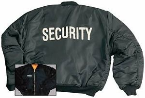 SECURITY BLACK MA-1 FLIGHT JACKET