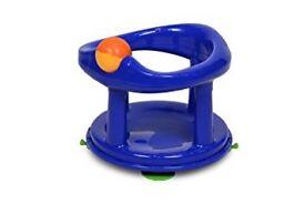 Blue swivel baby bath seat