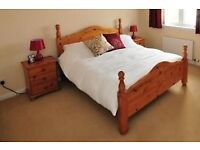 Pine Double Bed & Matching Bedside Cabinets & Lamps