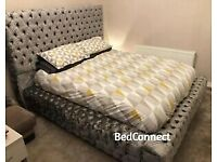 Grey Crushed Velvet Royal Chesterfield Double Bed