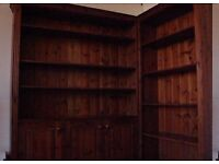 Solid pine book case with bottom cupboards and 8 shelves